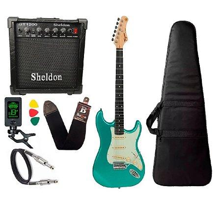 Guitarra Tagima Tg500 Surf Green Verde amplificador sheldon