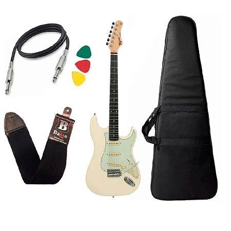 Kit Guitarra Tagima Tg500 Branco Strato Olympic White Capa Bag