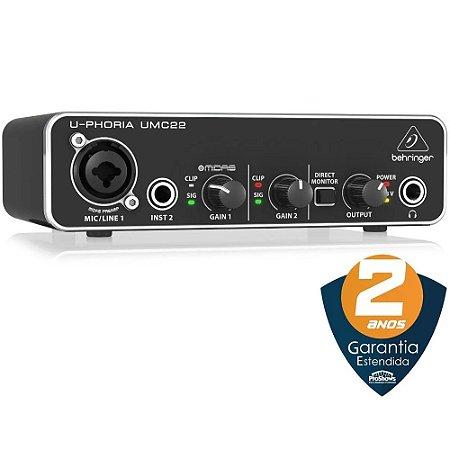 Interface De Áudio Behringer u-phoria Umc22 usb 2 Canais