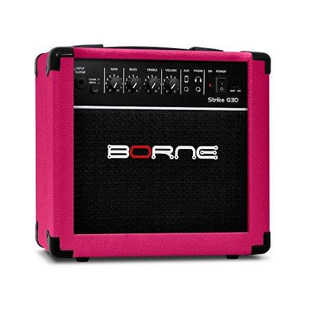 Amplificador Cubo Guitarra G30 Rosa Pink Borne C/ Distorção