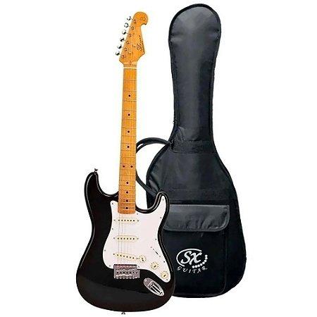 Guitarra Sx Vintage Sst57 Preta Serie Plus Com Capa