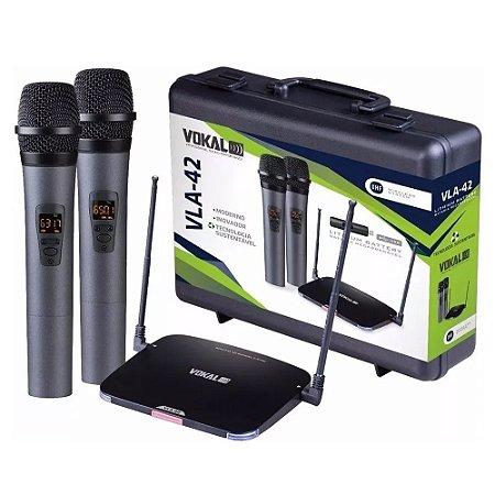 Microfone Sem Fio Vokal Vla42 Uhf Duplo Bateria Recarregavel