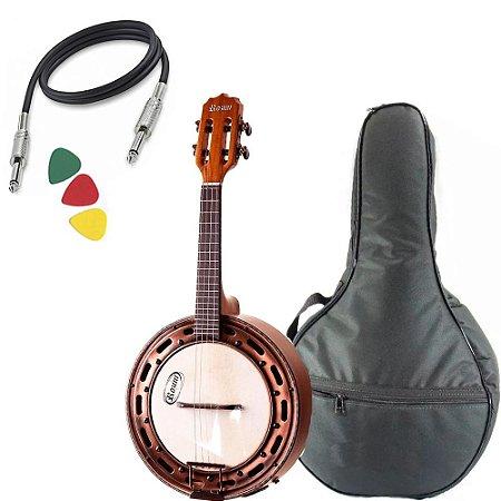 Banjo Rozini Rj15 Elétrico Mogno Fosco Ativo Afinador Capa
