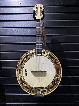 Kit Banjo Rozini Rj13 Elétrico Maple Aro Banhado Ouro Dourado