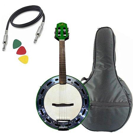 Banjo Marquês Baj88 Verde Elétrico Bag Afinador Profissional