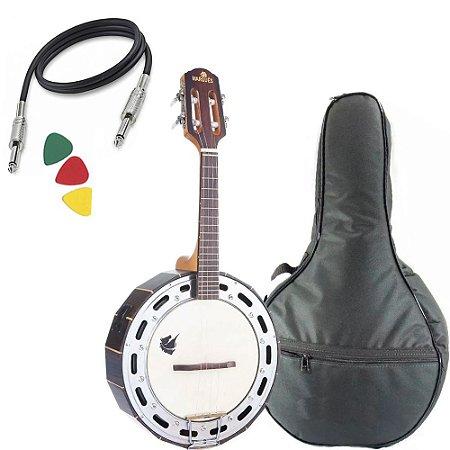 Banjo Eletrico Marquês Baj99 Maciço Jacaranda Afinador Capa