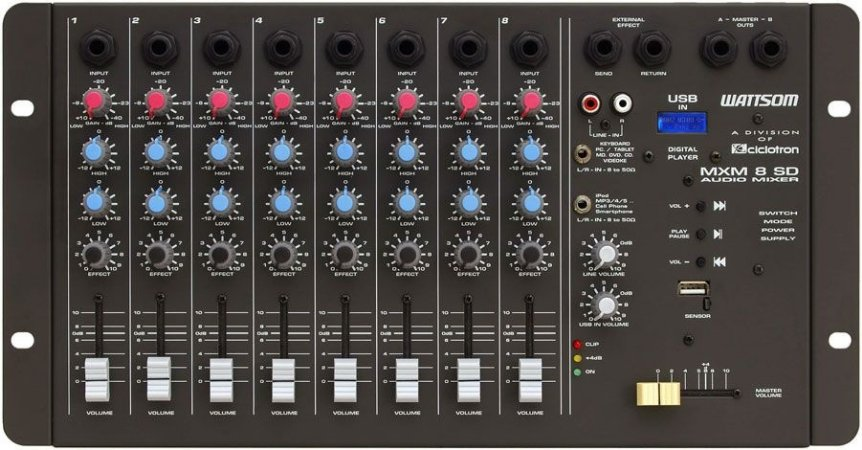 Mesa De Som Stereo 8 Canais Wattsom Ciclotron Mxs 8 Sd - profissional