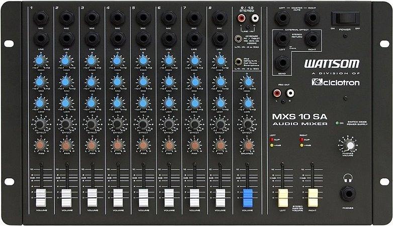 Mesa De Som 10 Canais Stereo Ciclotron Wattsom Mxs 10 Sa