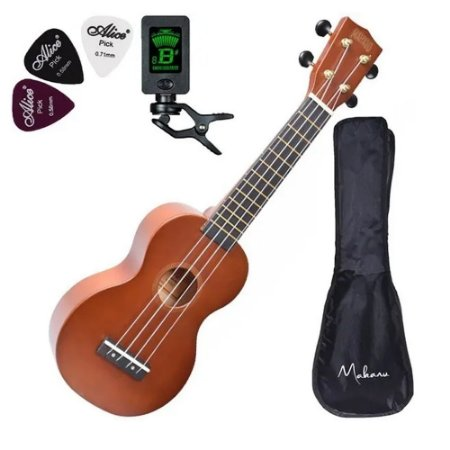 Ukulele Soprano Mahalo Mr1tbr Marrom Natural C/ Afinador Bag