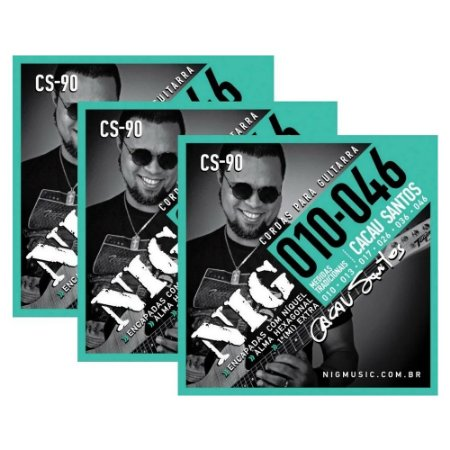 Kit 3 Encordoamentos Guitarra 010 Cacau Santos Nig Mi Extra