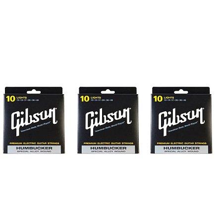 3 Encordoamentos Gibson 010 Special Humbucker Guitarra