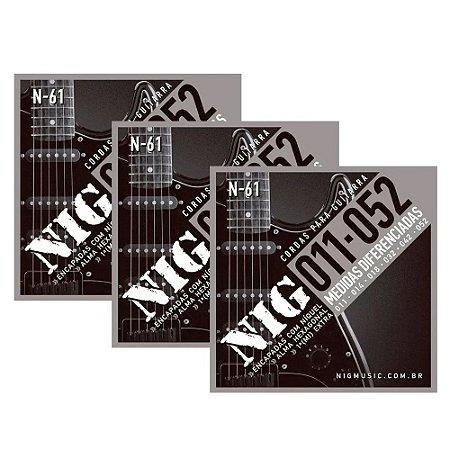 Kit 3 Encordoamentos Guitarra Aço 011 052 Nig N61