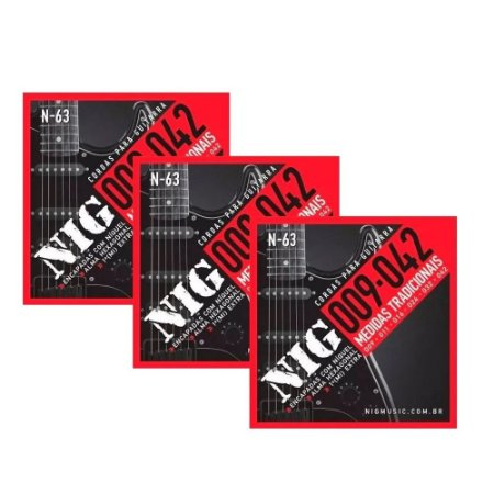 Kit 3 Encordoamentos Guitarra Aço 09 042 Nig N63 Tradicional