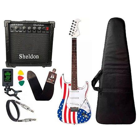 Kit Guitarra Eagle Sts001 Usa America Caixa De Som Sheldon