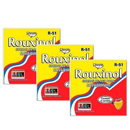Kit 3 Encordoamentos Cavaquinho Aço Rouxinol R51 Tradicional