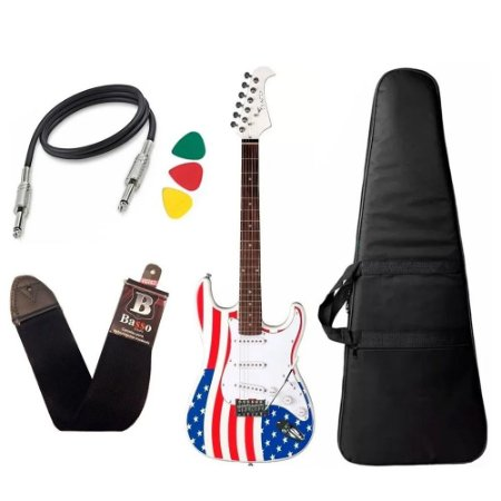 Kit Guitarra Eagle Sts001 Usa America Capa Alça Cabo Novo