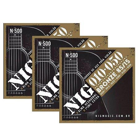 3 Jogos De Cordas Violão Aço Bronze 010 050 Nig N500