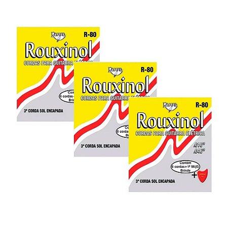 3 Jogos De Cordas Guitarra Aço 010 046 Rouxinol R80