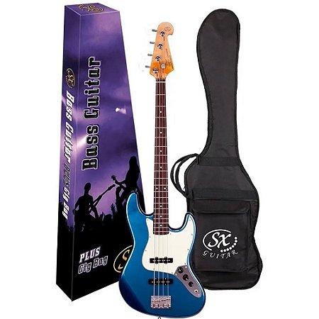 Baixo Sx Sjb62 Lpb azul Jazz Bass 4 cordas com capa bag