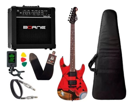 Kit Guitarra Phx Iron Man Home de Ferro Gmi1 Amplificador Borne