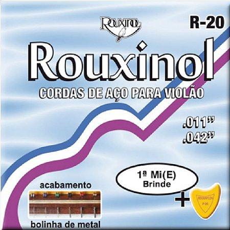 Encordoamento Violão Rouxinol R20 Aço Inox C/ Bolinha (mi) Brinde
