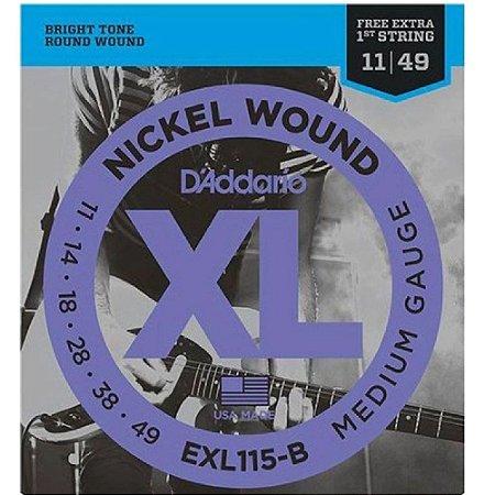 Encordoamento Daddario Guitarra 011 Nickel Exl115-B+Pl011