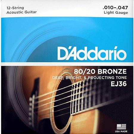 Encordoamento Daddario Violão 010 Aço Bronze 12 cordas Ej36