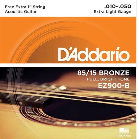 Encordoamento Daddario Violão 010 Aço Bronze Ez900-B+Pl010