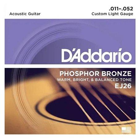Encordoamento Daddario Violão Aço 011 Ej26 Phosphor Bronzer