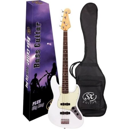 Baixo SX SJB62 Owh Branco Jazz Bass 4 Cordas Capa