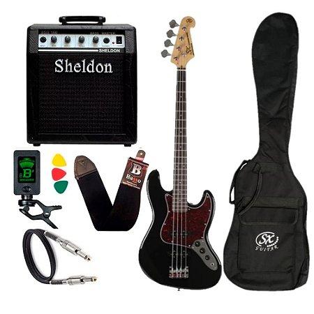 Kit Contra Baixo Sx JazzBass Bd1 Preto 4 Cordas Amplificador Sheldon
