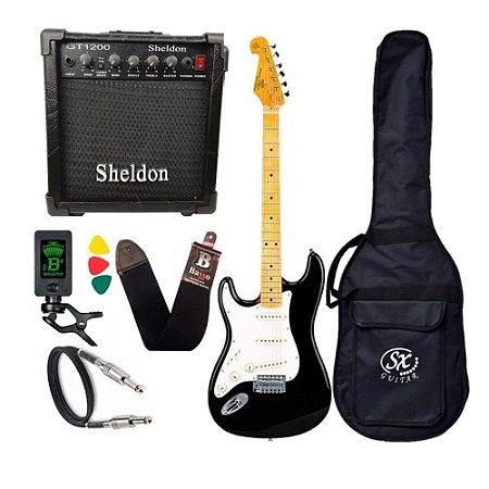 Kit Guitarra Sx Vintage Canhoto Sst57Lh Preta Amplificador Sheldon