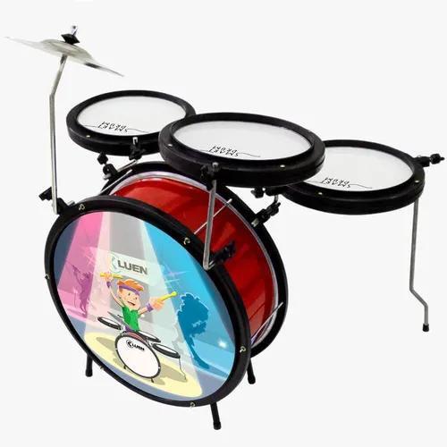 Bateria Infantil Luen  Smart Drum Percussion Vermelha