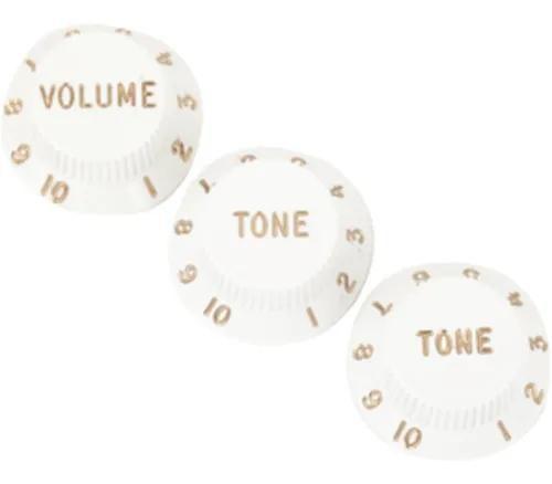 Knob Plástico Custom Sound Modelo St 3 Peças Branco Ckb2wh