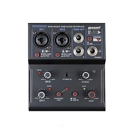 Mesa De Som Interface Gravação Lexsen 2 Canais Gomix2 Usb Bluetooth