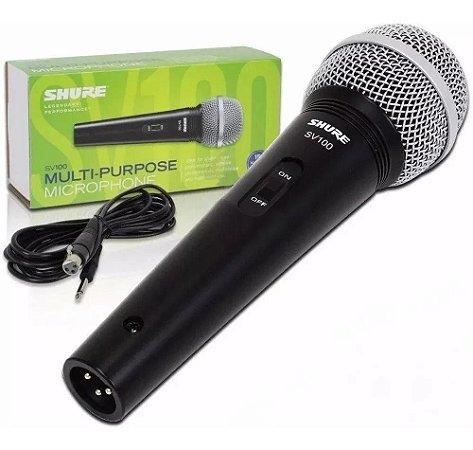 Microfone Shure SV100 vocal com fio globo prata