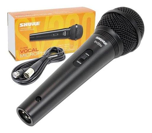 Microfone Shure SV200 vocal cardióide com fio botão liga desliga