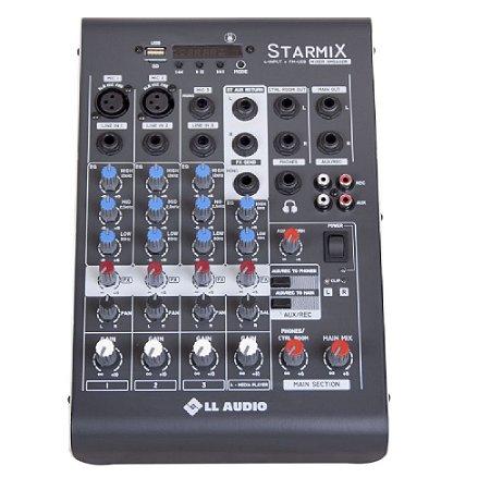 Mesa De Som LL Audio Starmix XMS402R 4 Canais Usb Bluetooth