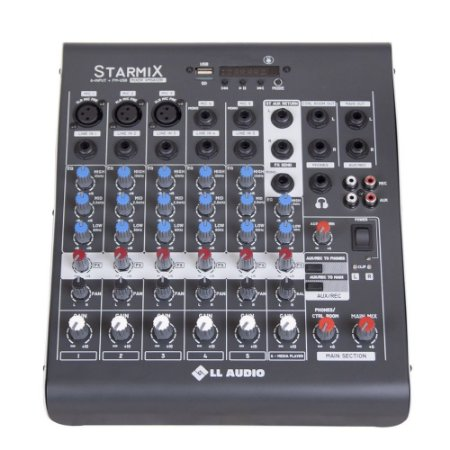 Mesa De Som LL Audio Starmix XMS602R 6 Canais Usb Bluetooth