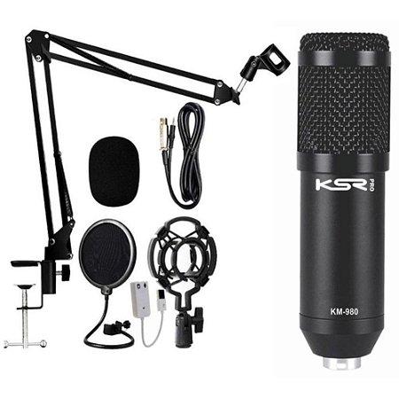 Kit Estúdio KSR Pro Km980 Microfone Condensador pedestal Shock pop filter