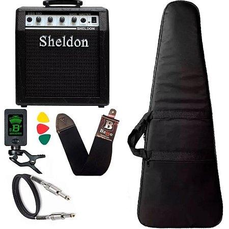Kit Para Baixo Com Amplificador Sheldon BSS180 Capa Cabo Correia