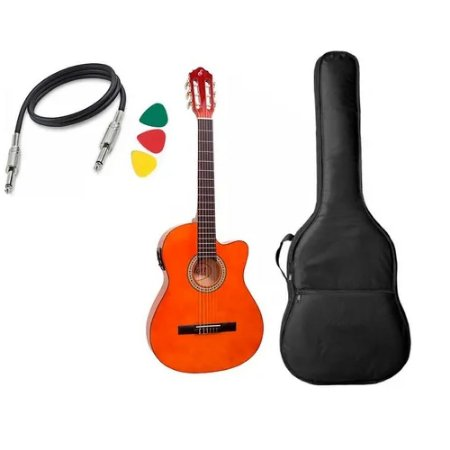 Kit Violão Giannini Nf14 Ceq Natural flat Nylon Elétrico bag