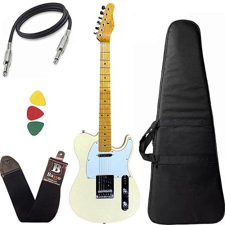 Kit Guitarra Tagima Telecaster Tw55 Cor Creme Capa Bag