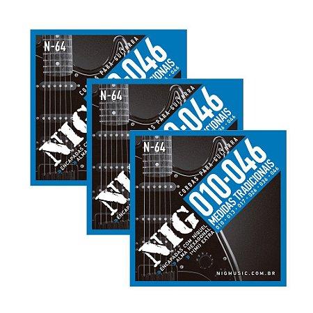 Kit 3 Encordoamento Guitarra Aço 010 046 Nig N64 Tradicional