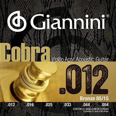 Encordoamento Giannini Cobra Violão Aço 012 Bronze GEEFLKS