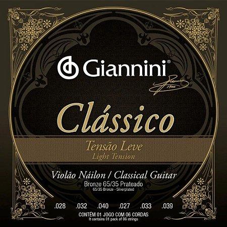 Encordoamento Giannini Violão Nylon Bronze 65/35 Leve GENWPL