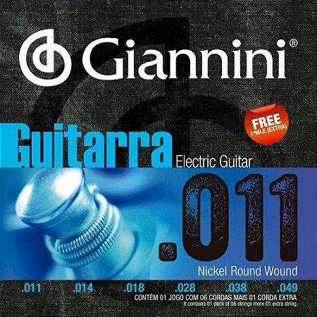 Encordoamento Giannini Guitarra Níquel 011 GEEGST11