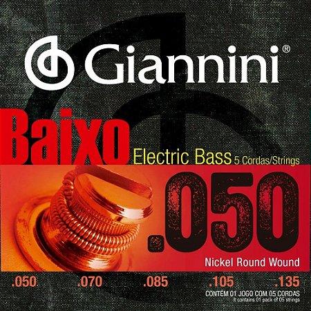 Encordoamento Giannini Baixo 5 Cordas 050/135 GEEBRSX5