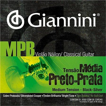 Encordoamento Giannini Violão Nylon MPB Preto-Prata GENWBS