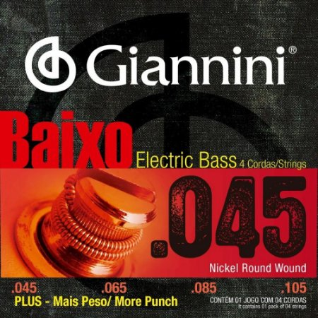 Encordoamento Giannini Contra Baixo 4 Cordas 045/105 Plus GEEBRSP